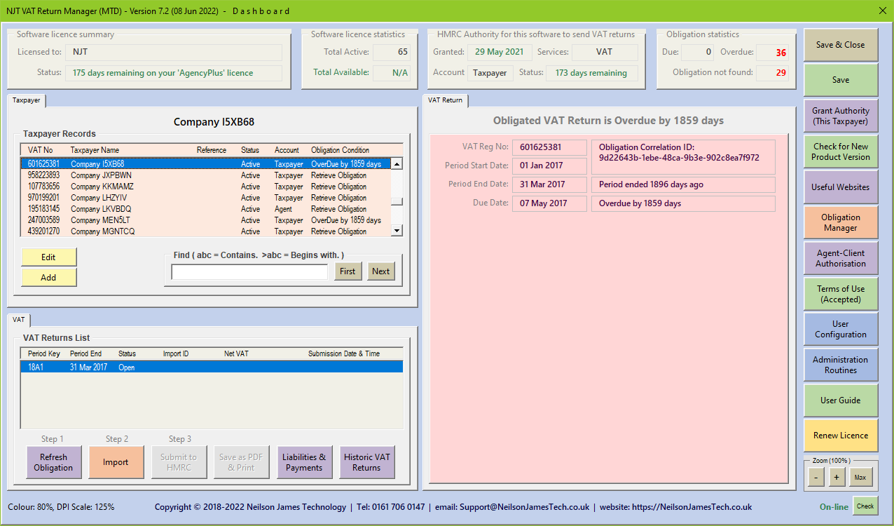 MTD Dashboard Example 1