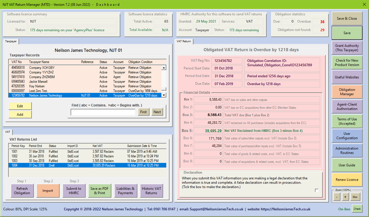 MTD Dashboard Example 2