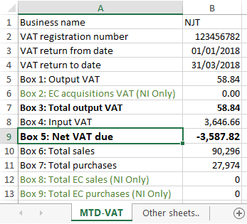 MTD Excel Import Example